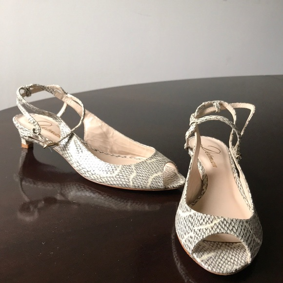 b753cd3b934 Snake print leather ankle wrap Open Toe 6M Heels NWT